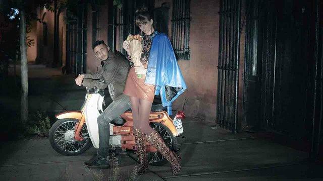 Fashion models at night
