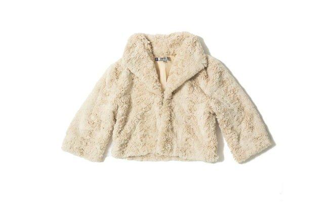 white fur jacket