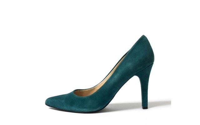 green suede high heel