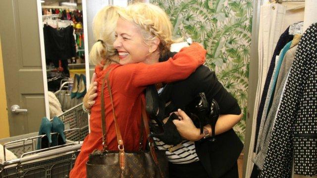 woman hugging
