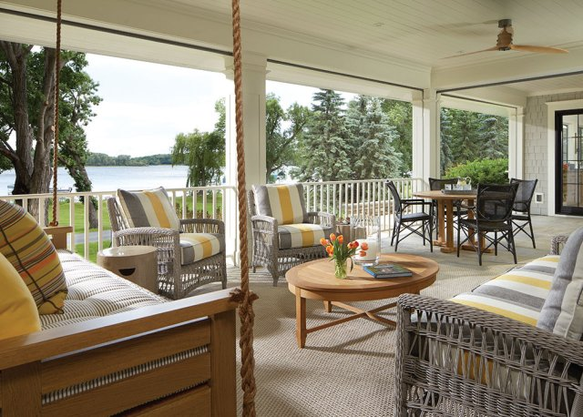 open porch on a lake