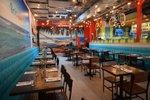 beach themed restaurant interior bright colors