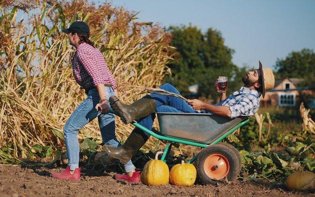 Woman pulling a man in a wheelbarrow