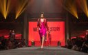 Fashionopolis 2019: woman on runway wearing pink dress and red leather jacket