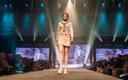Fashionopolis 2019: woman on runway wearing patterned skirt and blazer