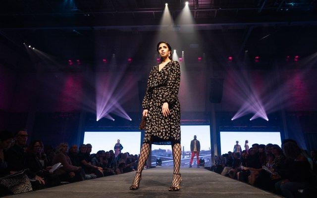 Fashionopolis 2019: woman wearing black print dress