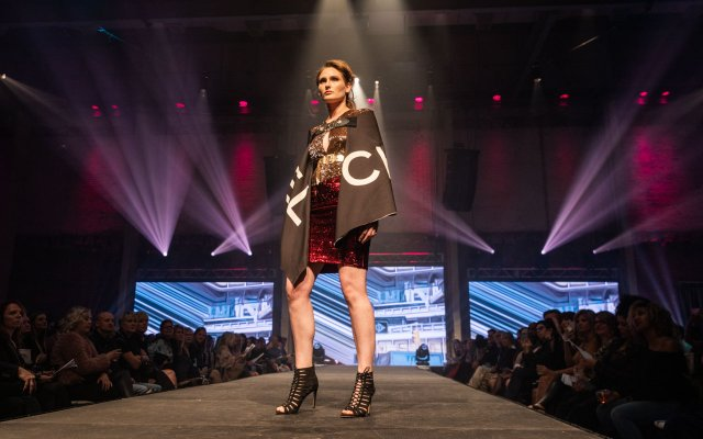 Fashionopolis 2019: woman on runway wearing sequin skirt and top