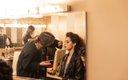 Model getting makeup done at Fashionopolis