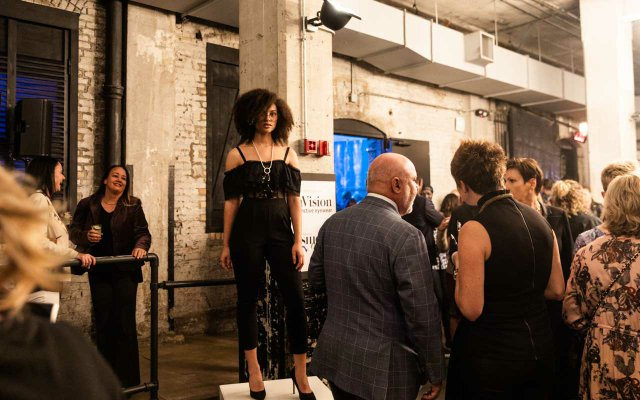 Model wearing black outfit at Fashionopolis 2019