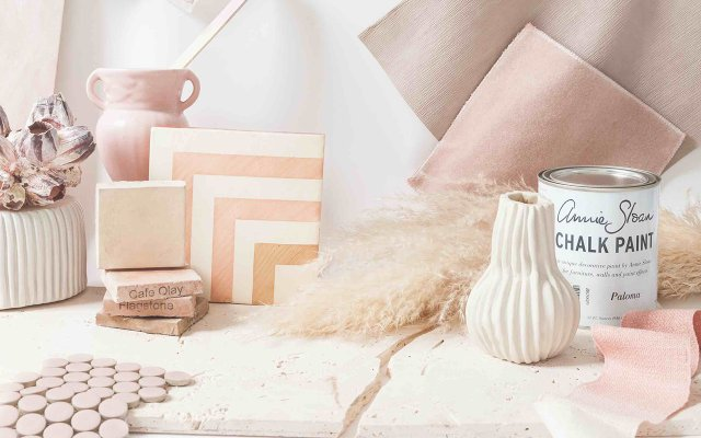 Light pink pastel tile samples and paint
