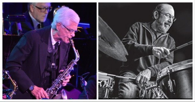 Brian Grivna on saxophone and Peter Kogan on drums.