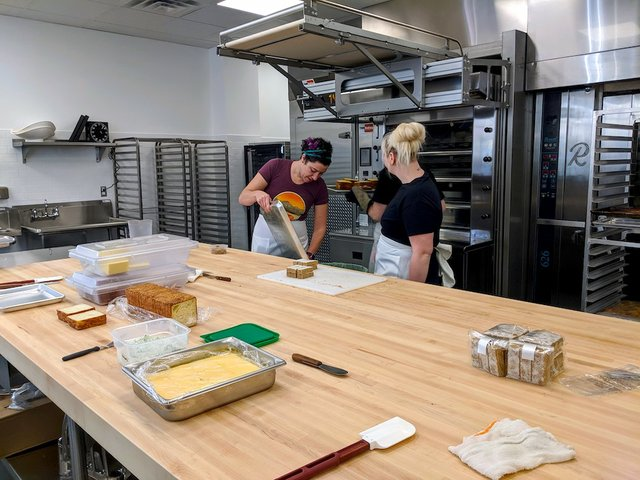 a large prep kitchen