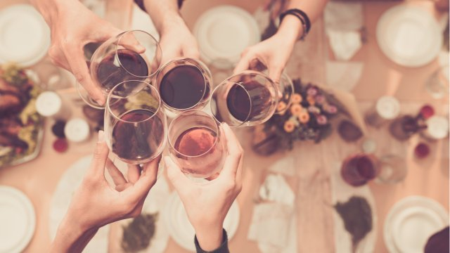 Holiday cheers with friends.
