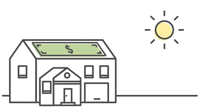 line drawing of dollar bill on house with sun shining