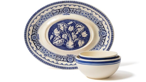 Blue and white serving platter