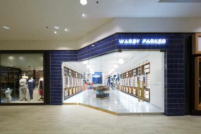 store front of warby parker in edina