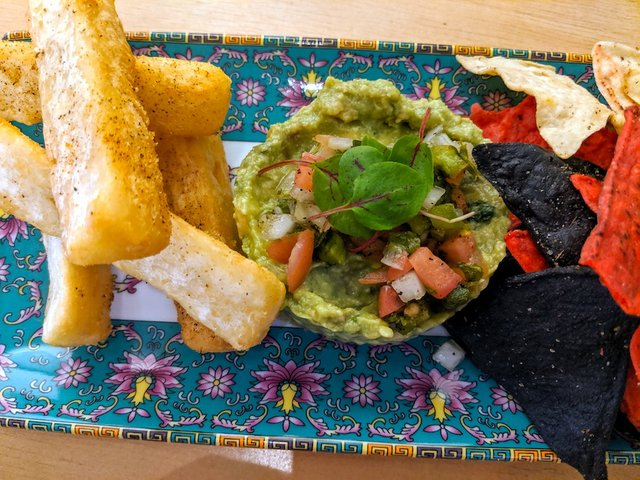 Yucca fries and guac