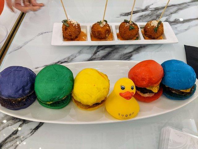 colorful mini burgers
