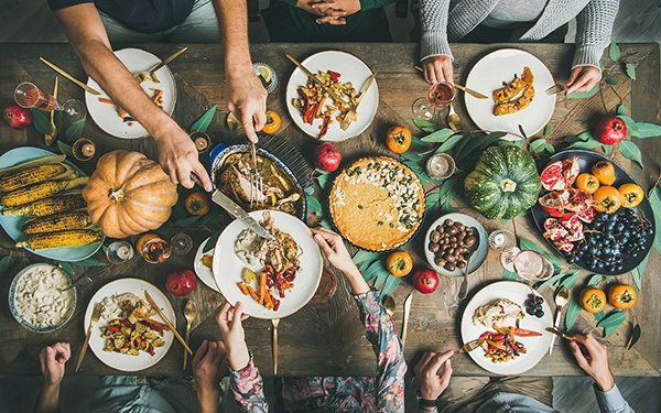 overhead view of Thanksgiving table