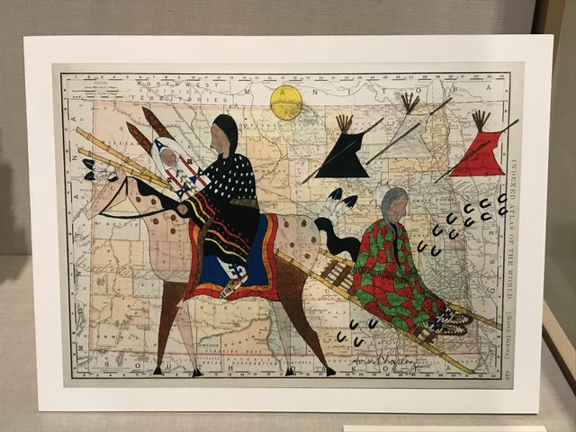 native American art on a map of North Dakota