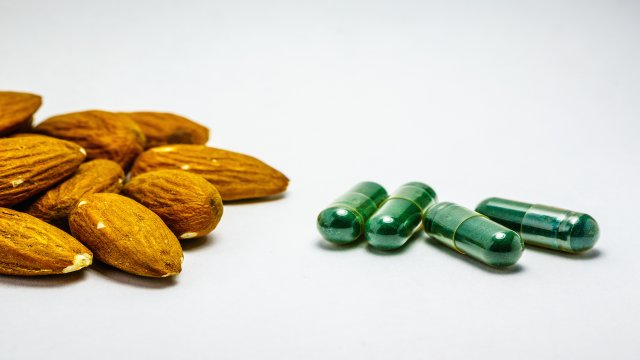 almonds and green supplement pills