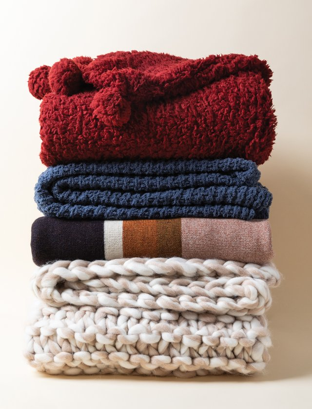 Stack of wool blankets