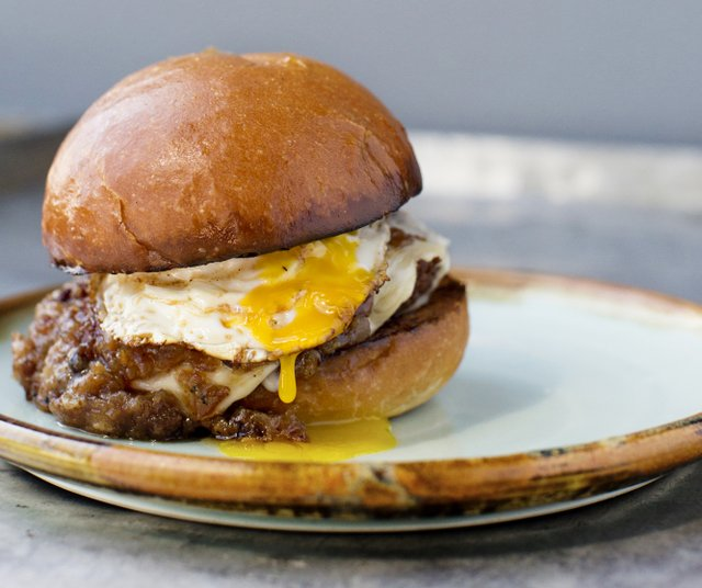burger with an egg on it