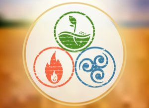 a logo that represents fire, water and earth