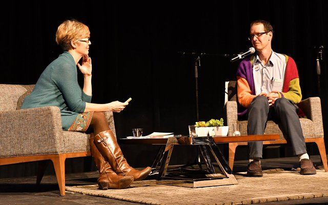 Cathy Wurzer interviewing a guest on stage