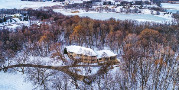 Aerial shot of home in winter