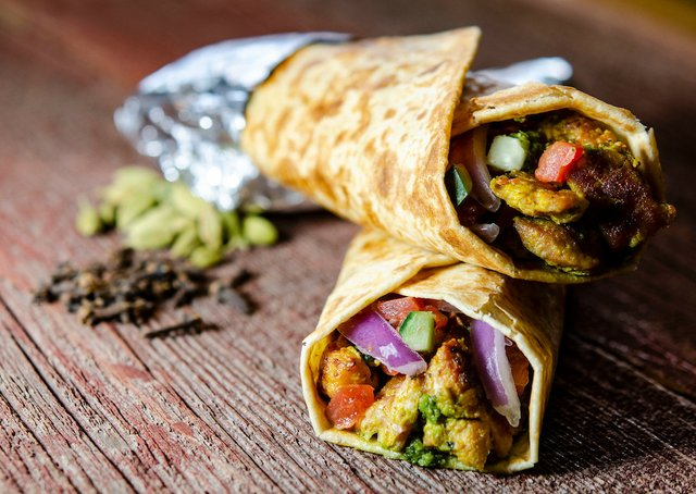 Wrap of meat and vegetables from Hot Indian