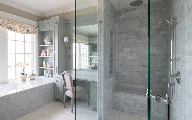 Blue-gray stone and marble in the master bath