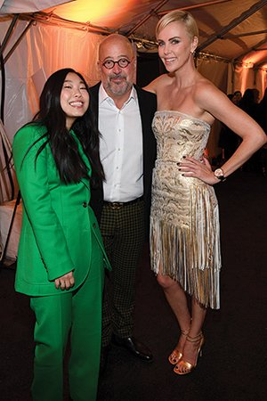 Andrew Zimmern with Awkwafina and Charlize Theron