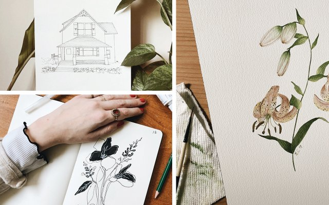 Organic Illustrations by local artists