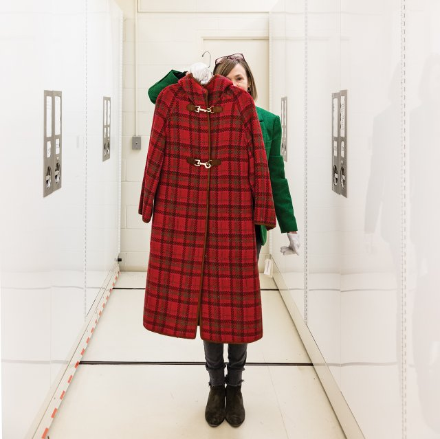 Curator Jean McElvain with Wool Plaid Coat