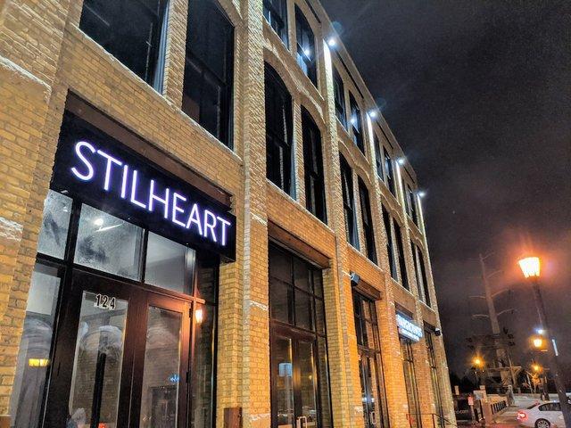 The outside door to Stilheart bar.