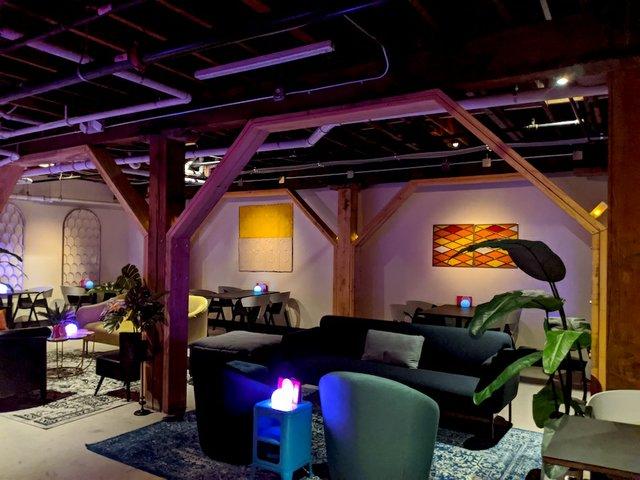 Lounge furniture in the lower level of Stilheart bar.