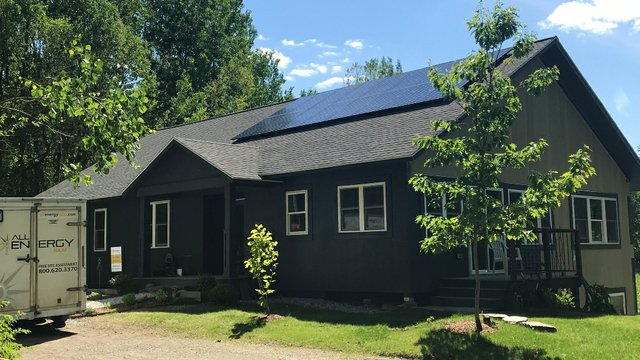 Small townhome with solar panels