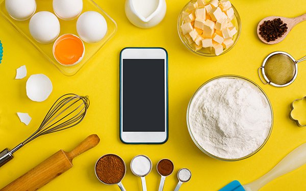 cell phone and cooking tools