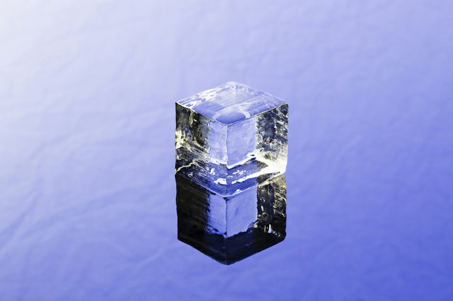 ice cube on blue
