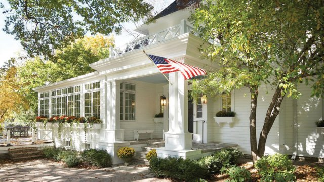 white clapboard cottage