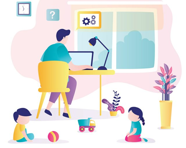 Working from home with small kids illo