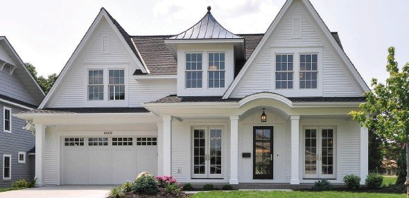 Exterior of white Edina home