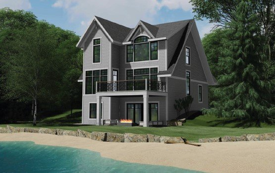 Rendition of lakeside cottage exterior