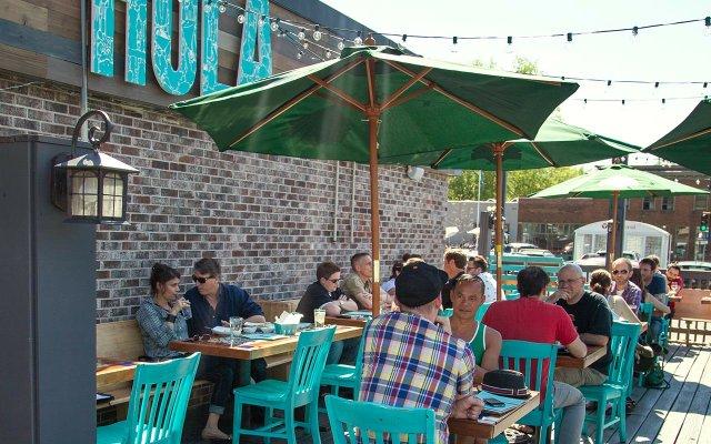 patio dining at Hola Arepa