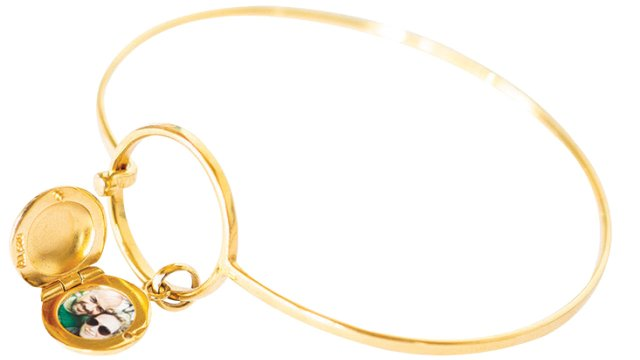 Gold bangle locket