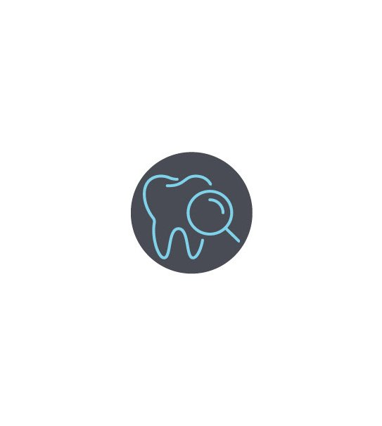 Tooth Icon Magnifying Glass