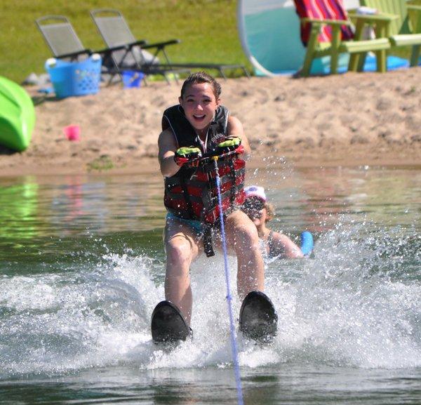 Natalie waterskiing (kind of) circa 2013