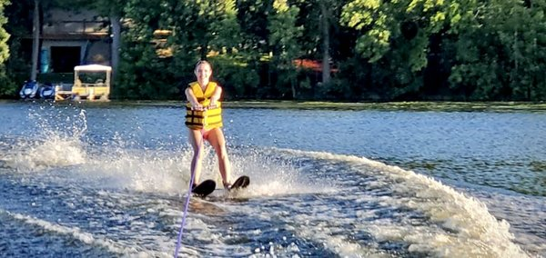 Natalie First Time Waterskiing
