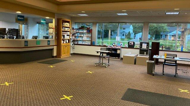 covid-friendly lobby at northwestern health sciences university's bloomington clinic